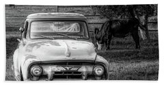Truck And Cows Living Together Bw Beach Towel