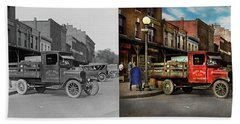 Beach Towel featuring the photograph Truck - Home Dressed Poultry 1926 - Side By Side by Mike Savad