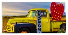 Truck With Strawberry Sign Beach Towel by Garry Gay