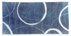 Beach Sheet featuring the painting True Blue Ensos by Julie Niemela