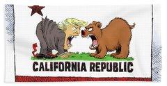 Trump And California Face Off Beach Towel