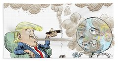 Trump And The World On Climate Beach Towel