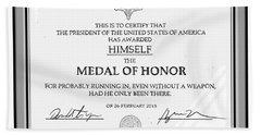Trump Medal Of Honor Beach Towel