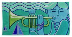 Trumpet Girl Beach Towel