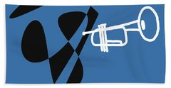 Beach Towel featuring the digital art Trumpet In Blue by Jazz DaBri