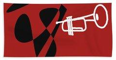 Trumpet In Orange Red Beach Towel