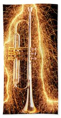 Trumpet Outlined With Sparks Beach Towel