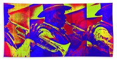 Trumpet Player Pop-art Beach Towel