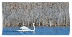 Beach Towel featuring the photograph Trumpeter Swan 0967 by Michael Peychich