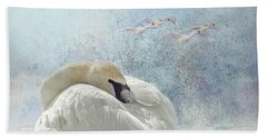 Beach Towel featuring the photograph Trumpeter Textures #1 - Swan Feather by Patti Deters