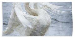 Trumpeter Swan - Misty Display 2 Beach Towel
