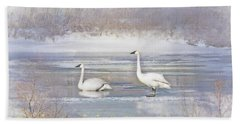 Beach Sheet featuring the photograph Trumpeter Swan's Winter Rest by Jennie Marie Schell