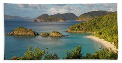 Beach Towel featuring the photograph Trunk Bay Morning by Adam Romanowicz