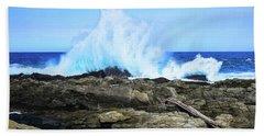 Tsitsikamma National Park Mpa Tidal Wave Splash Beach Sheet by Jeff at JSJ Photography