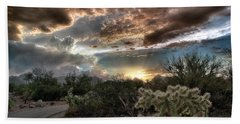 Beach Towel featuring the photograph Tucson Mountain Sunset by Lynn Geoffroy