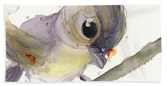 Beach Towel featuring the painting Tufted Titmouse by Dawn Derman