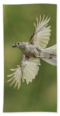 Tufted Titmouse In Flight Beach Sheet by Alan Lenk