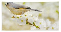 Tufted Titmouse With Seed Beach Towel