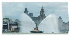 Tug Boat Fountain Beach Towel