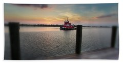 Tug Boat Sunset Beach Towel