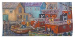 Tug Boats Portsmouth Maritime Painting Beach Towel