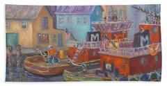 Tug Boats Portsmouth Maritime Painting Beach Sheet