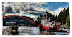 Tugboat At The Rainbow Bridge Beach Towel by David Patterson
