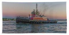 Tugboat Buckley Mcallister At Sunset Beach Sheet