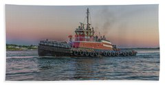 Tugboat Buckley Mcallister At Sunset Beach Towel