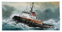 Tugboat Hunter Crowley Beach Towel by James Williamson