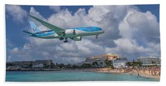 Tui Airlines Netherland 787 Landing At Sxm Airport Beach Towel