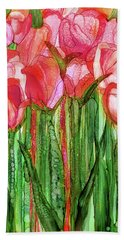 Beach Towel featuring the mixed media Tulip Bloomies 1 - Red by Carol Cavalaris