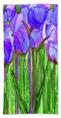 Beach Sheet featuring the mixed media Tulip Bloomies 2 - Purple by Carol Cavalaris