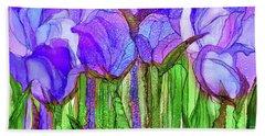 Beach Towel featuring the mixed media Tulip Bloomies 4 - Purple by Carol Cavalaris
