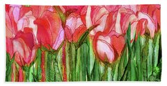 Beach Towel featuring the mixed media Tulip Bloomies 4 - Red by Carol Cavalaris