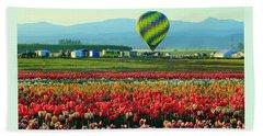 Tulip Field And Hot Air Balloon Beach Sheet by Steve Warnstaff