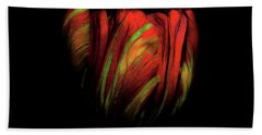 Tulip Flower On Black Background Abstract Beach Towel