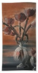 Tulip Flowers Bouquet In Two Round Water Filled Small Globe Shaped Vases On A Table Still Life Of Bo Beach Towel