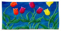 Beach Towel featuring the painting Tulip Tango by Rebecca Parker