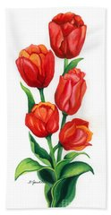Beach Towel featuring the painting Tulip Time by Barbara Jewell