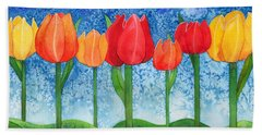 Tulip Trees Watercolor Beach Towel by Kristen Fox