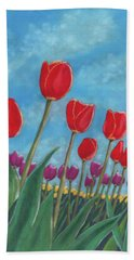 Tulip View Beach Towel by Arlene Crafton