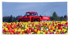 Tulips And Red Chevy Truck Beach Towel