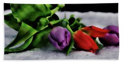 Tulips And Snow Beach Towel