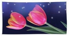 Tulips And Stars Beach Towel