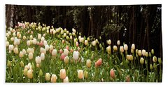Tulips And Trees Beach Towel