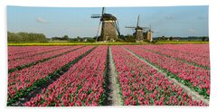 Tulips And Windmills In Holland Beach Sheet by IPics Photography