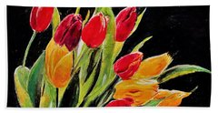 Tulips Colors Beach Towel by Khalid Saeed