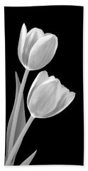 Tulips In Black And White Beach Towel