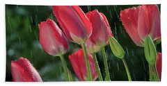 Beach Towel featuring the photograph Tulips In The Rain by William Lee